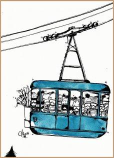 Téléphérique bleu 30x40 cm